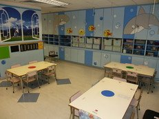 "There are variety themes in different classrooms. The theme of this classroom is ""Marine Life""."