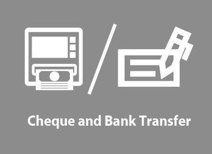Cheque and bank in